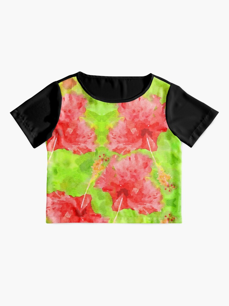 Alternate view of Watercolor Red Hibiscus Tropical Aloha Botanical Chiffon Top
