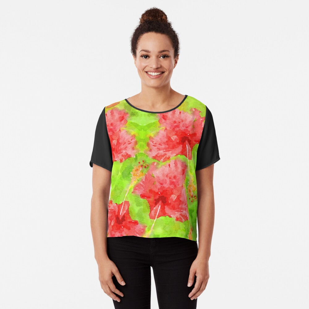 Watercolor Red Hibiscus Tropical Aloha Botanical Chiffon Top