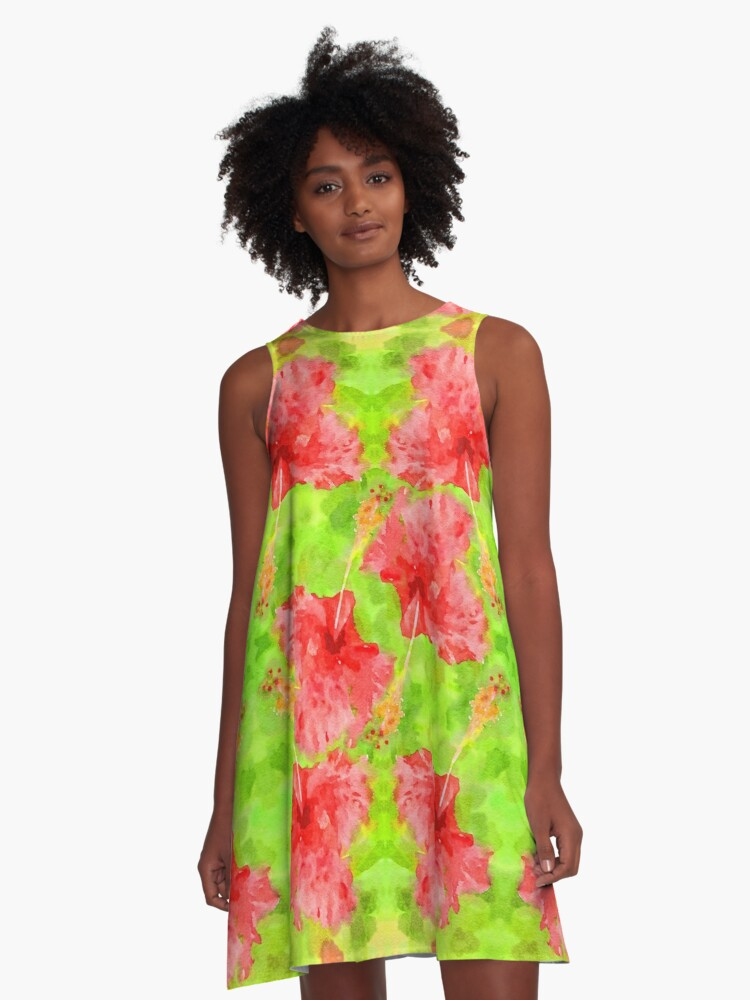 Watercolor Red Hibiscus Tropical Aloha Botanical A-Line Dress Front