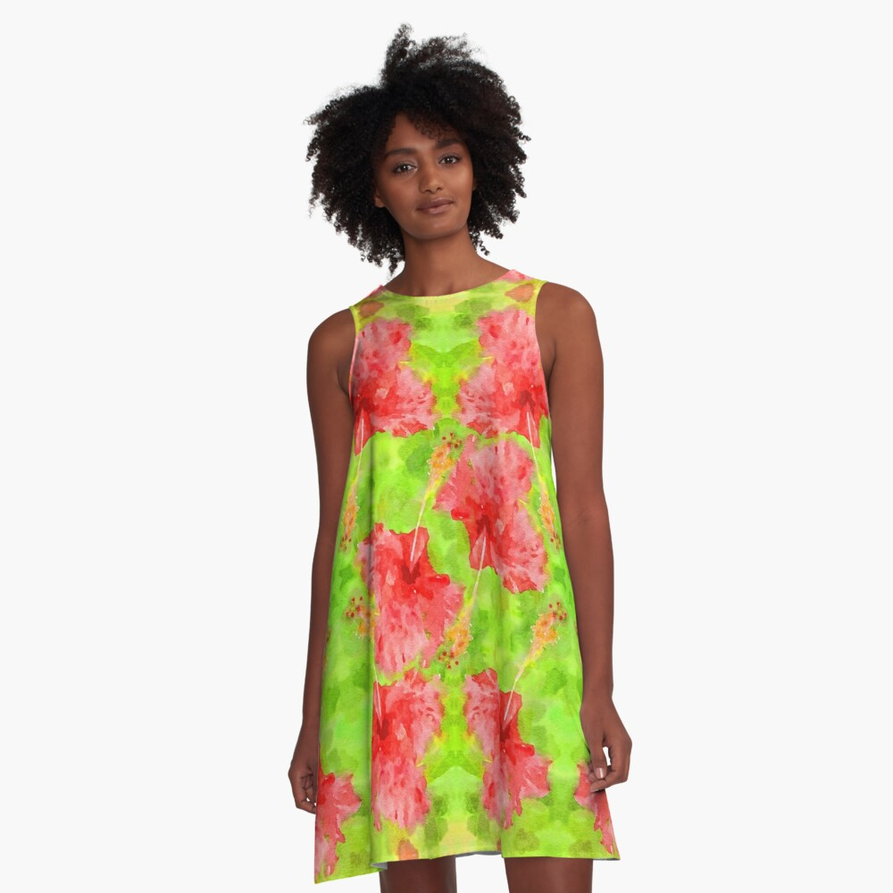 Watercolor Red Hibiscus Tropical Aloha Botanical A-Line Dress