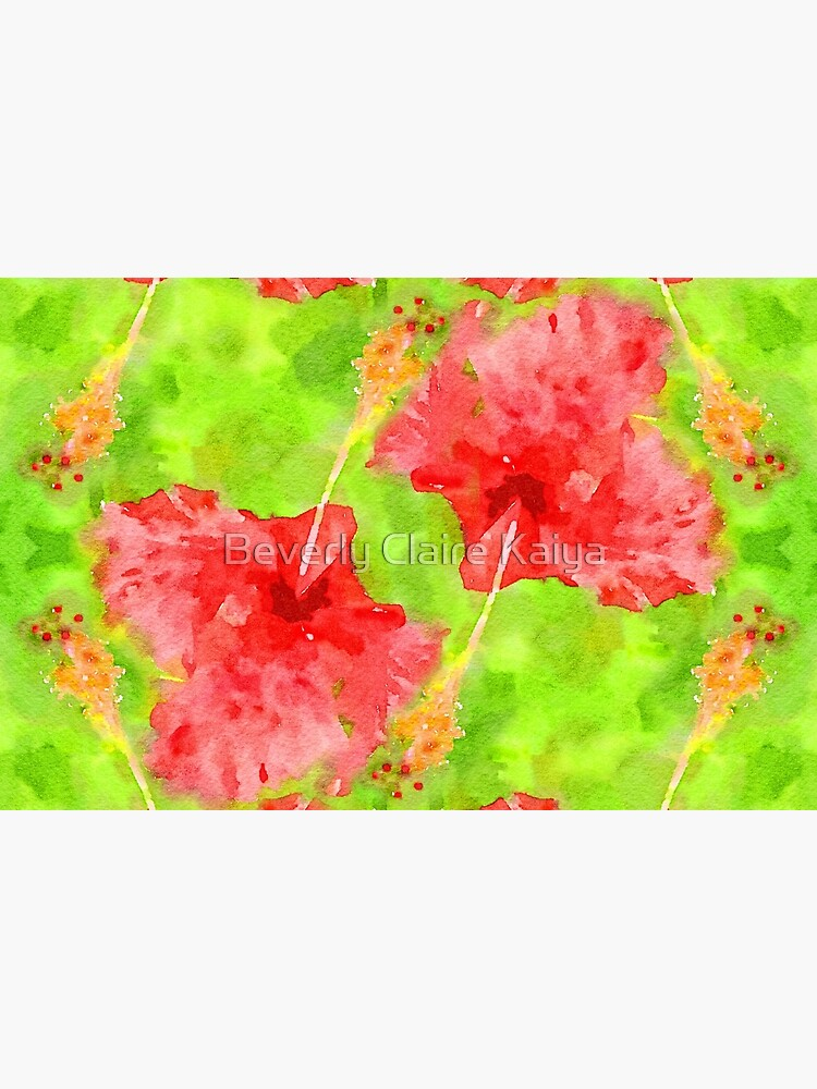 Watercolor Red Hibiscus Tropical Aloha Botanical by beverlyclaire