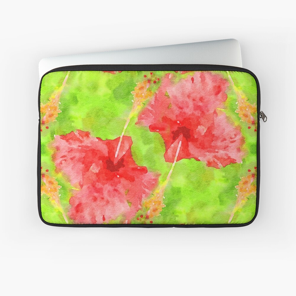 Watercolor Red Hibiscus Tropical Aloha Botanical Laptop Sleeve
