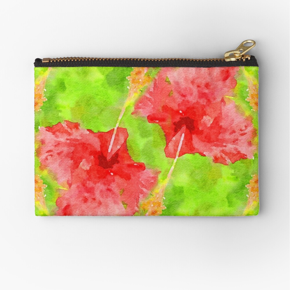 Watercolor Red Hibiscus Tropical Aloha Botanical Zipper Pouch