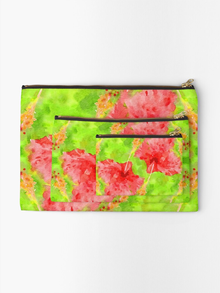 Alternate view of Watercolor Red Hibiscus Tropical Aloha Botanical Zipper Pouch