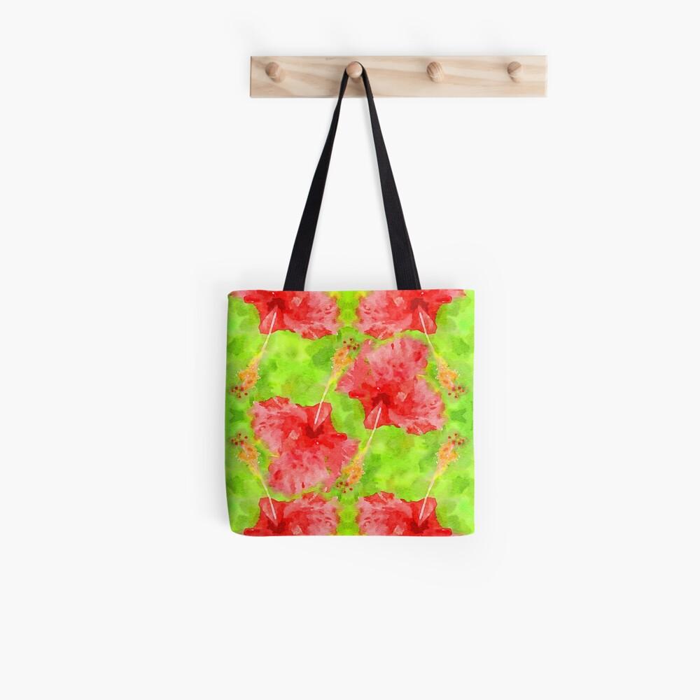 Watercolor Red Hibiscus Tropical Aloha Botanical Tote Bag