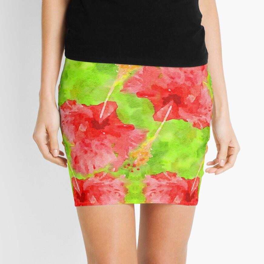 Watercolor Red Hibiscus Tropical Aloha Botanical Mini Skirt