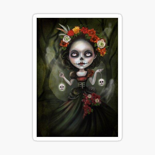 Katrina Day of the Dead Skull Girl Sticker