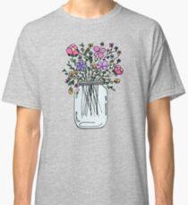 Mason Jar with Flowers Classic T-Shirt