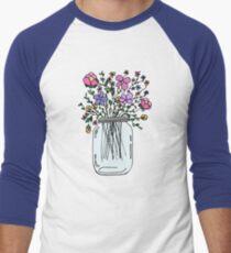 Mason Jar with Flowers Men's Baseball ¾ T-Shirt