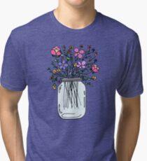 Mason Jar with Flowers Tri-blend T-Shirt