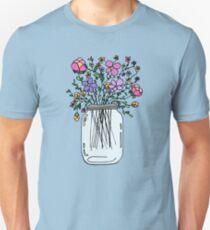 Camiseta ajustada Tarro de masón con flores