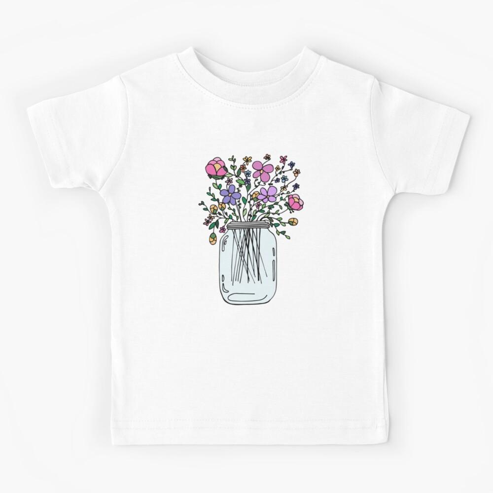 Mason Jar with Flowers Kids T-Shirt