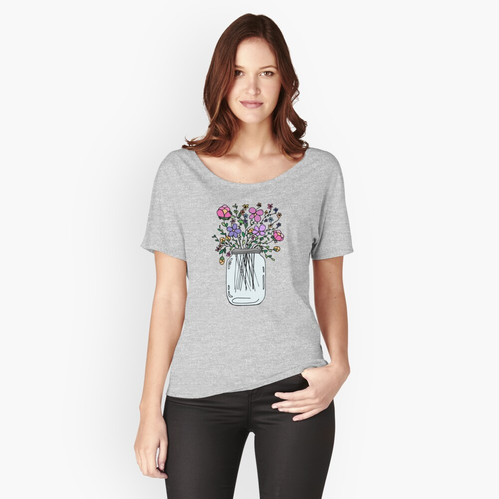 Mason Jar with Flowers Relaxed Fit T-Shirt