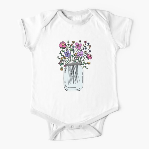 Mason Jar with Flowers Short Sleeve Baby One-Piece