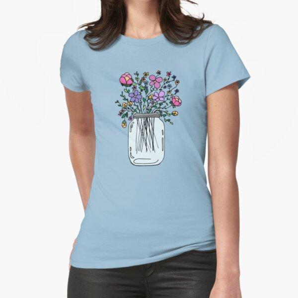 Einmachglas mit Blumen Tailliertes T-Shirt