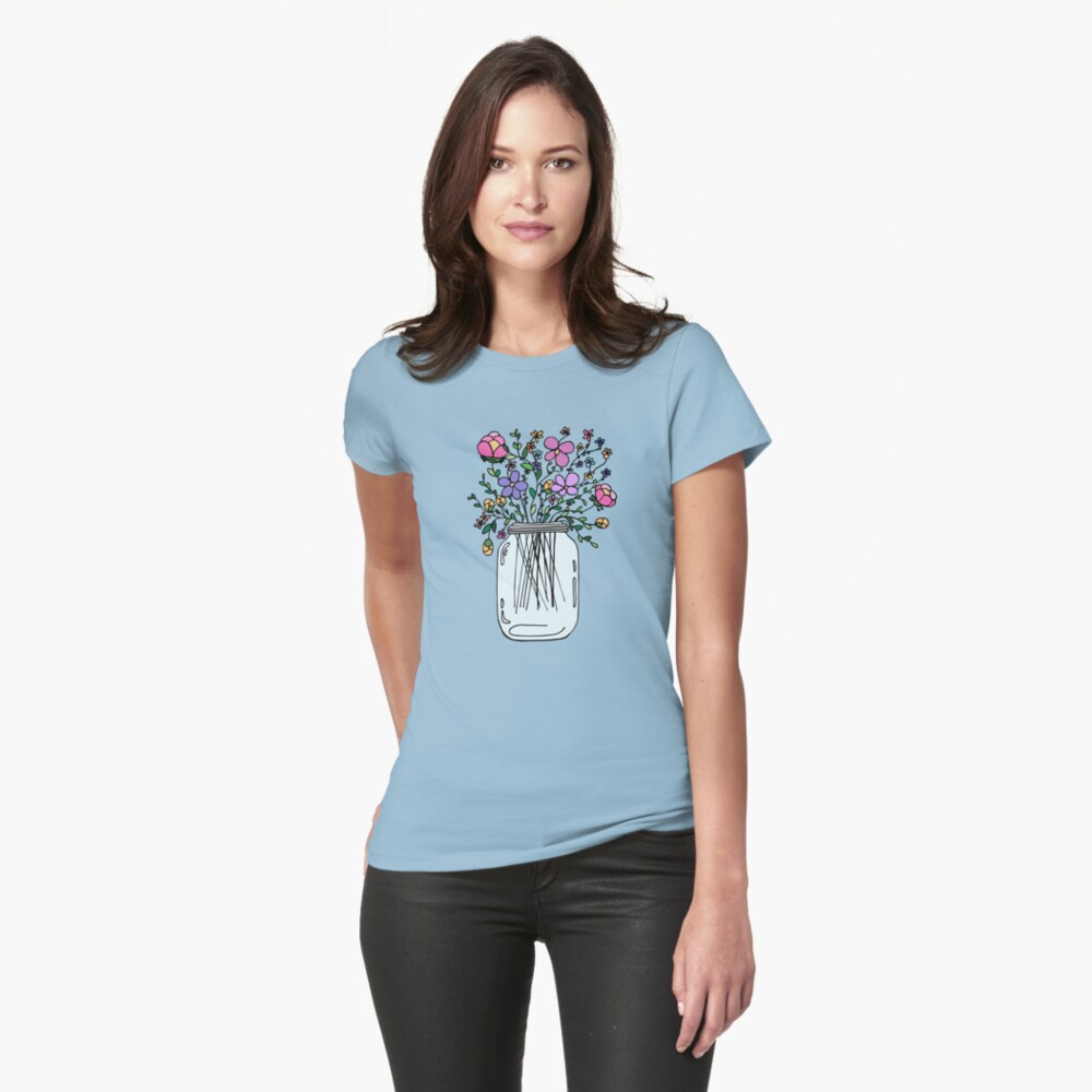 Mason Jar with Flowers Fitted T-Shirt