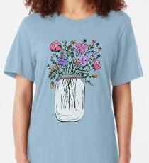 Einmachglas mit Blumen Slim Fit T-Shirt