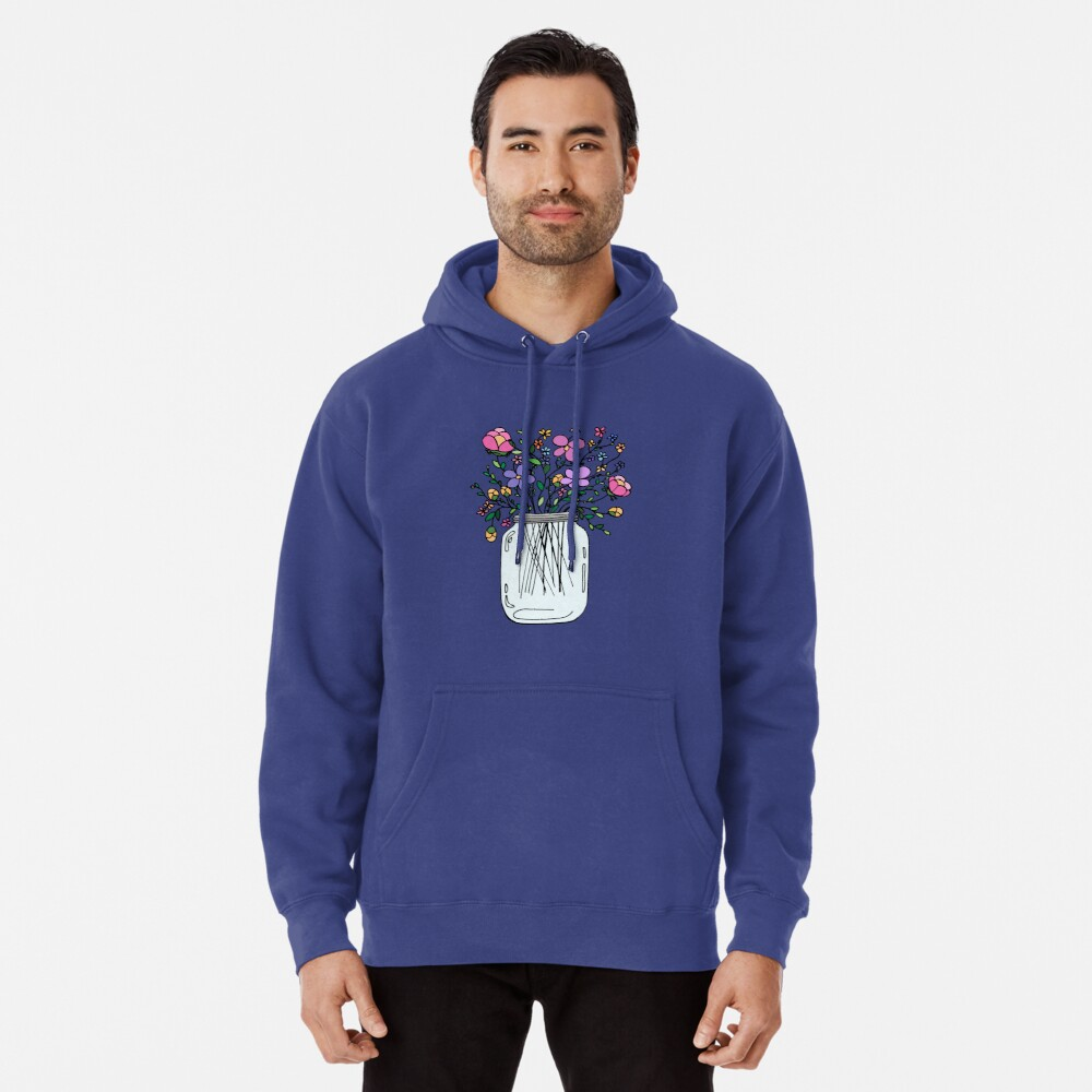 Mason Jar with Flowers Pullover Hoodie