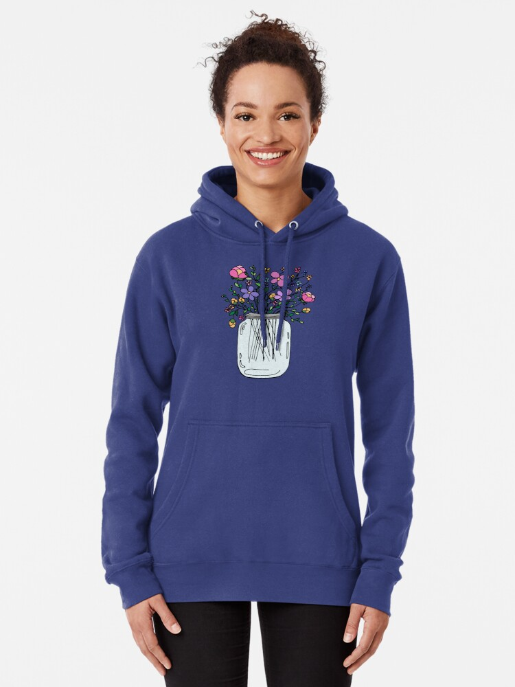 Alternate view of Mason Jar with Flowers Pullover Hoodie