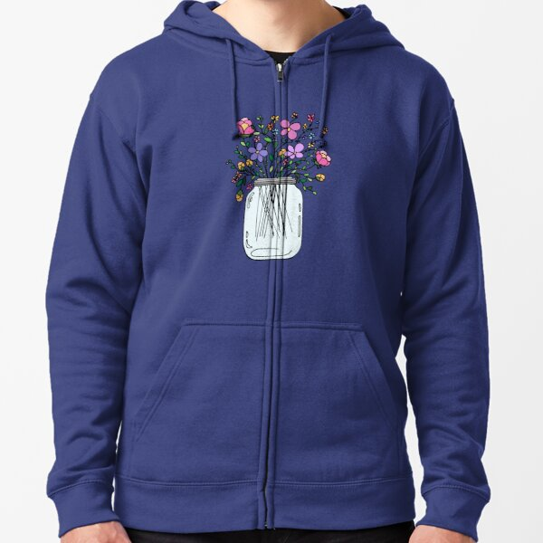 Mason Jar with Flowers Zipped Hoodie