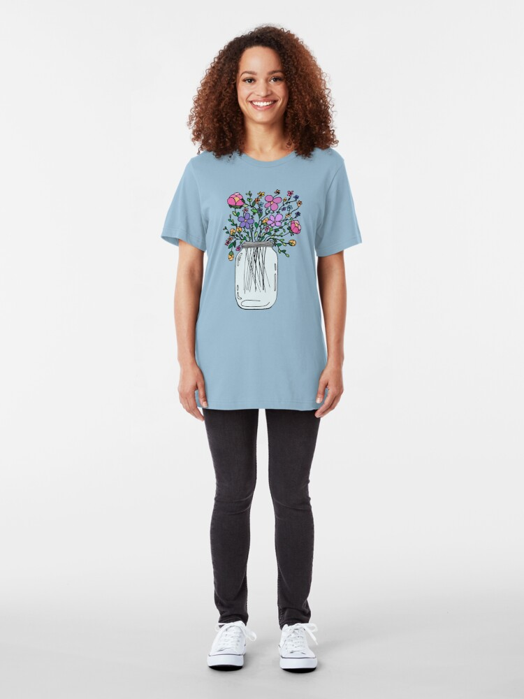 Alternate view of Mason Jar with Flowers Slim Fit T-Shirt