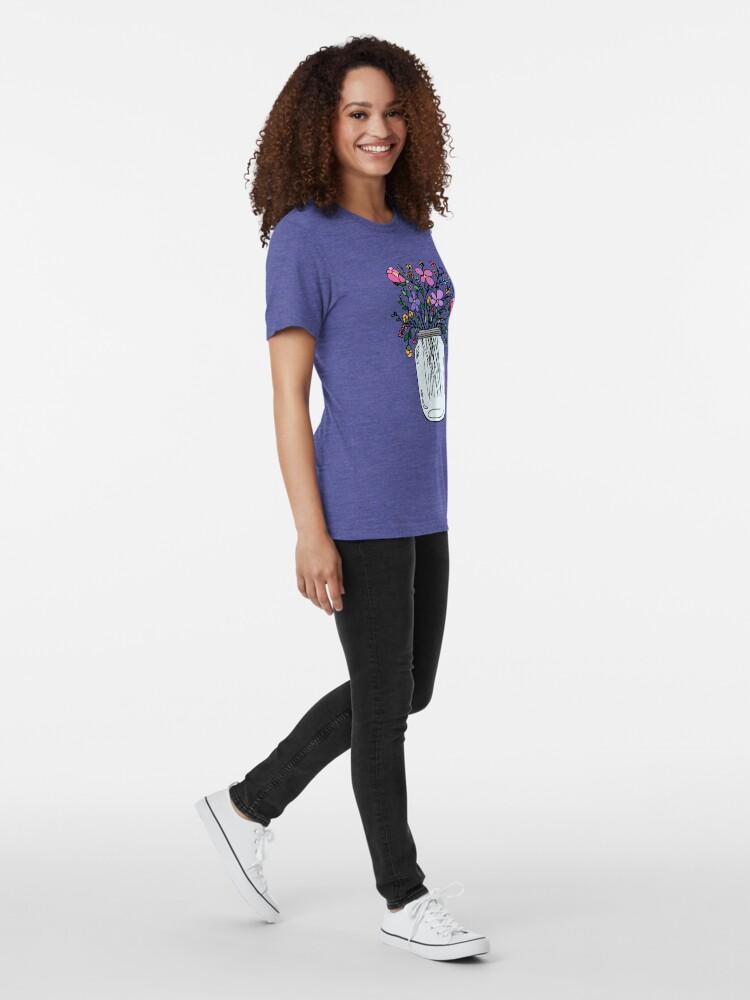 Alternate view of Mason Jar with Flowers Tri-blend T-Shirt