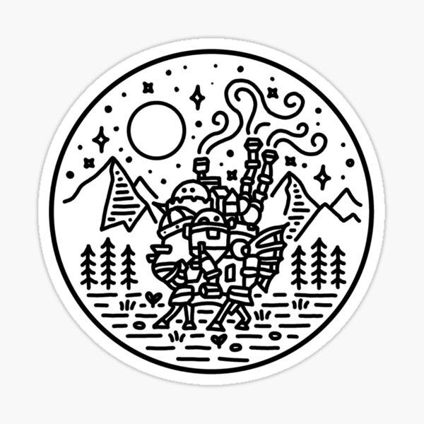 Howl's moving castle - black outline Sticker