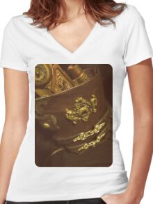 Steampunk Holster 1.0 Women's Fitted V-Neck T-Shirt