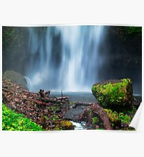 Green rock in front of a wide waterfall Poster