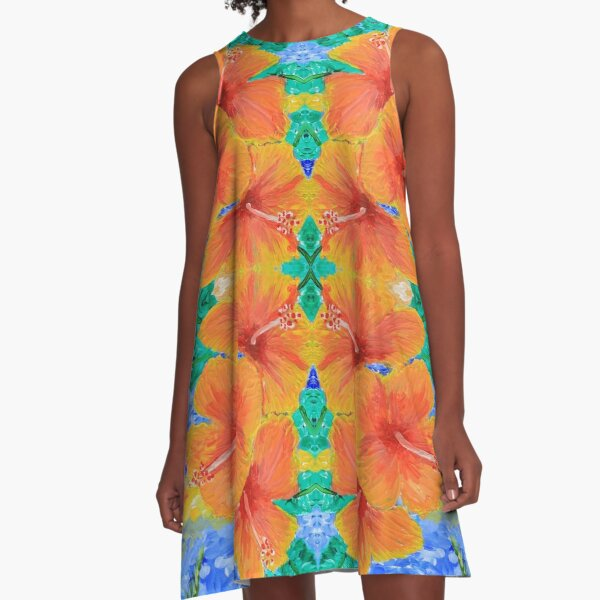 Hand-Painted Tropical Orange Hibiscus Botanical A-Line Dress