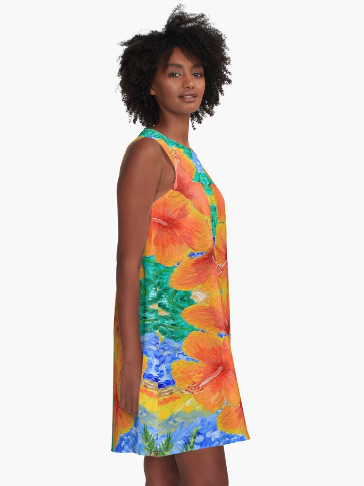 Alternate view of Hand-Painted Tropical Orange Hibiscus Botanical A-Line Dress