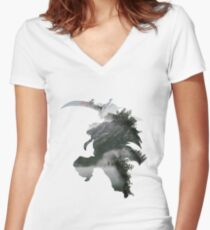 FOREST INUYASHA ABSTRACT Women's Fitted V-Neck T-Shirt