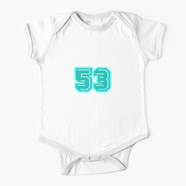 Light Blue Number 53 Short Sleeve Baby One-Piece