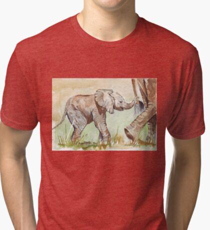 Baby Elephant walk Tri-blend T-Shirt