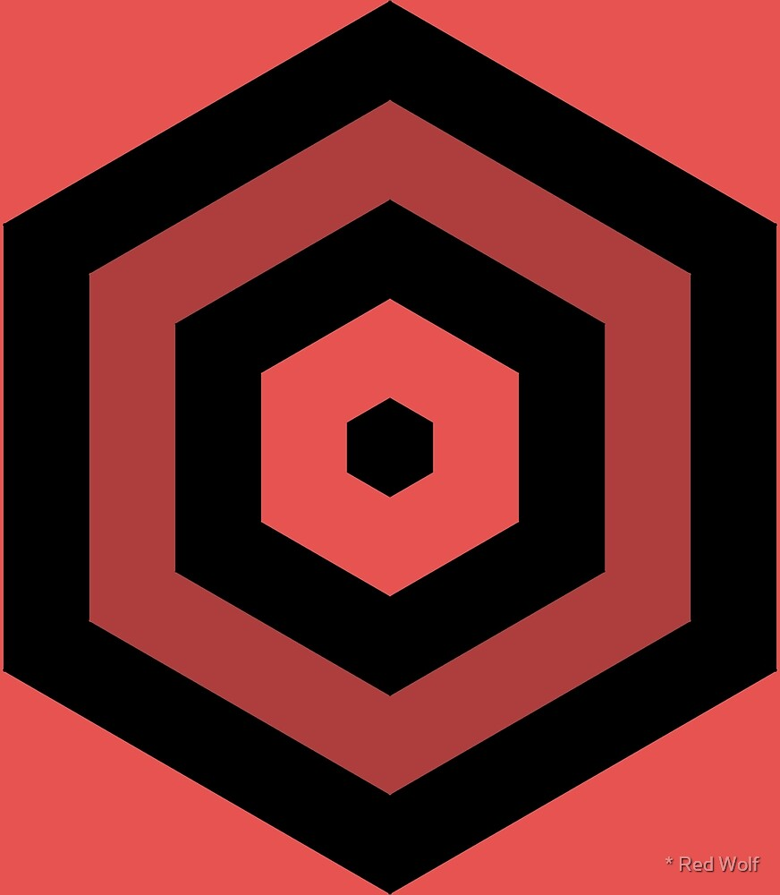 Geometric Pattern: Hexagon Hive: Dark Negative: Red by * Red Wolf