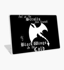 Black wings in the cold (white lettering)  Laptop Skin
