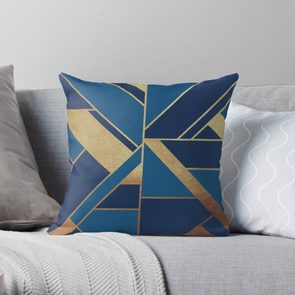 Modern Geometric in Blue and Gold  Throw Pillow