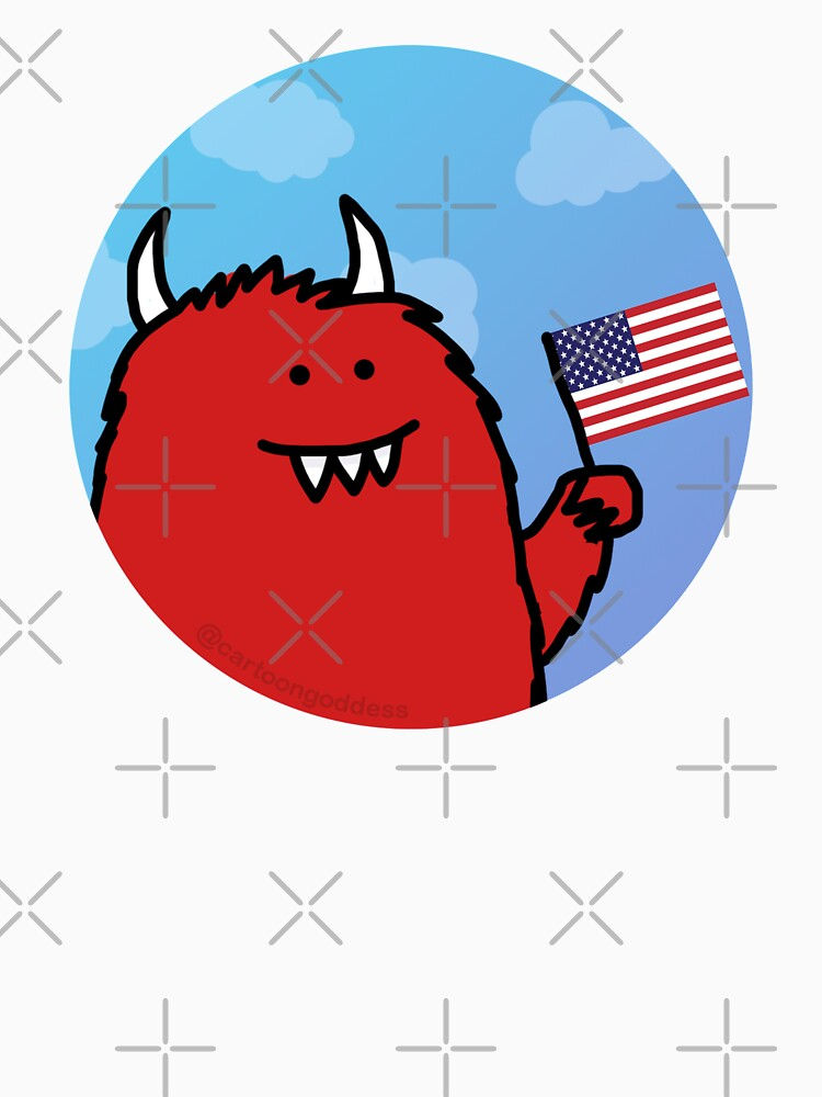 Celebratory Red Monster with Flag by cartoongoddess