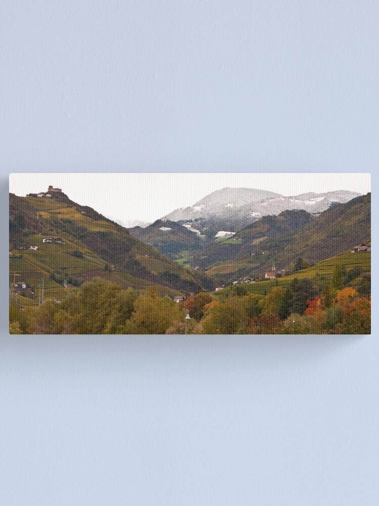 Alternate view of Snow line on the hills, Bolzano/Bozen, Italy (Panorama) Canvas Print