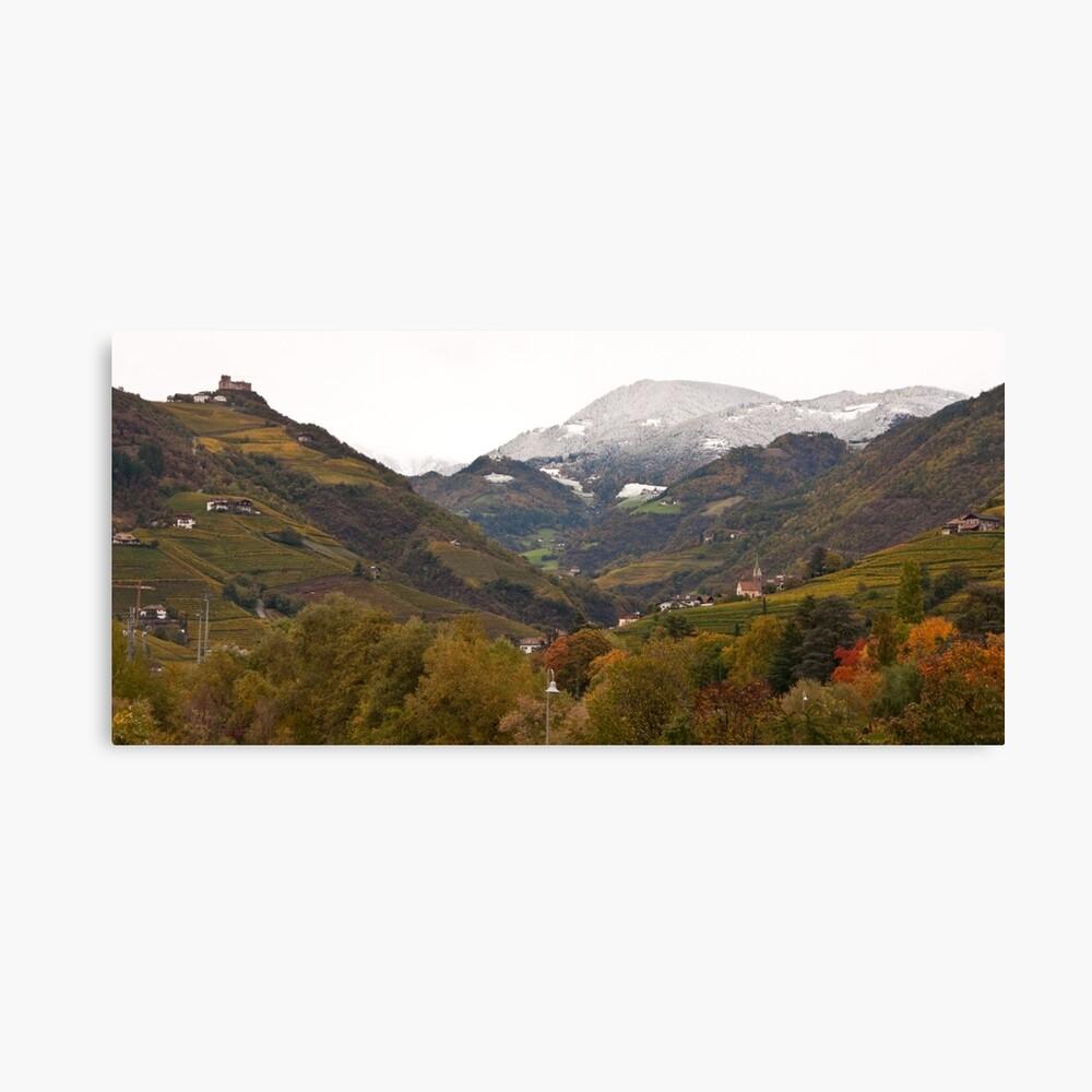 Snow line on the hills, Bolzano/Bozen, Italy (Panorama) Canvas Print