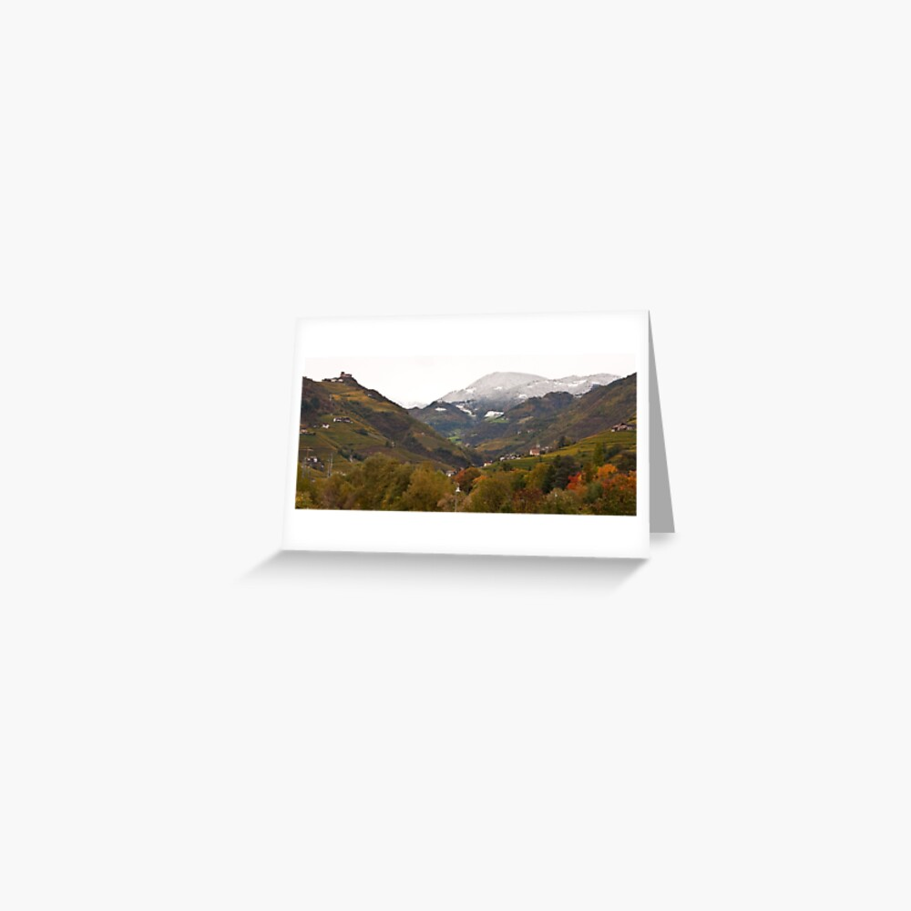 Snow line on the hills, Bolzano/Bozen, Italy (Panorama) Greeting Card