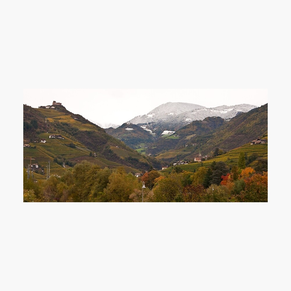 Snow line on the hills, Bolzano/Bozen, Italy (Panorama) Photographic Print