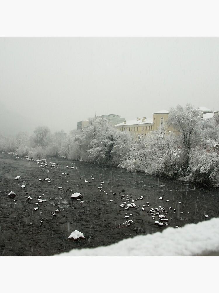 Snow storm on the Talvera River, Bolzano/Bozen, Italy by leemcintyre