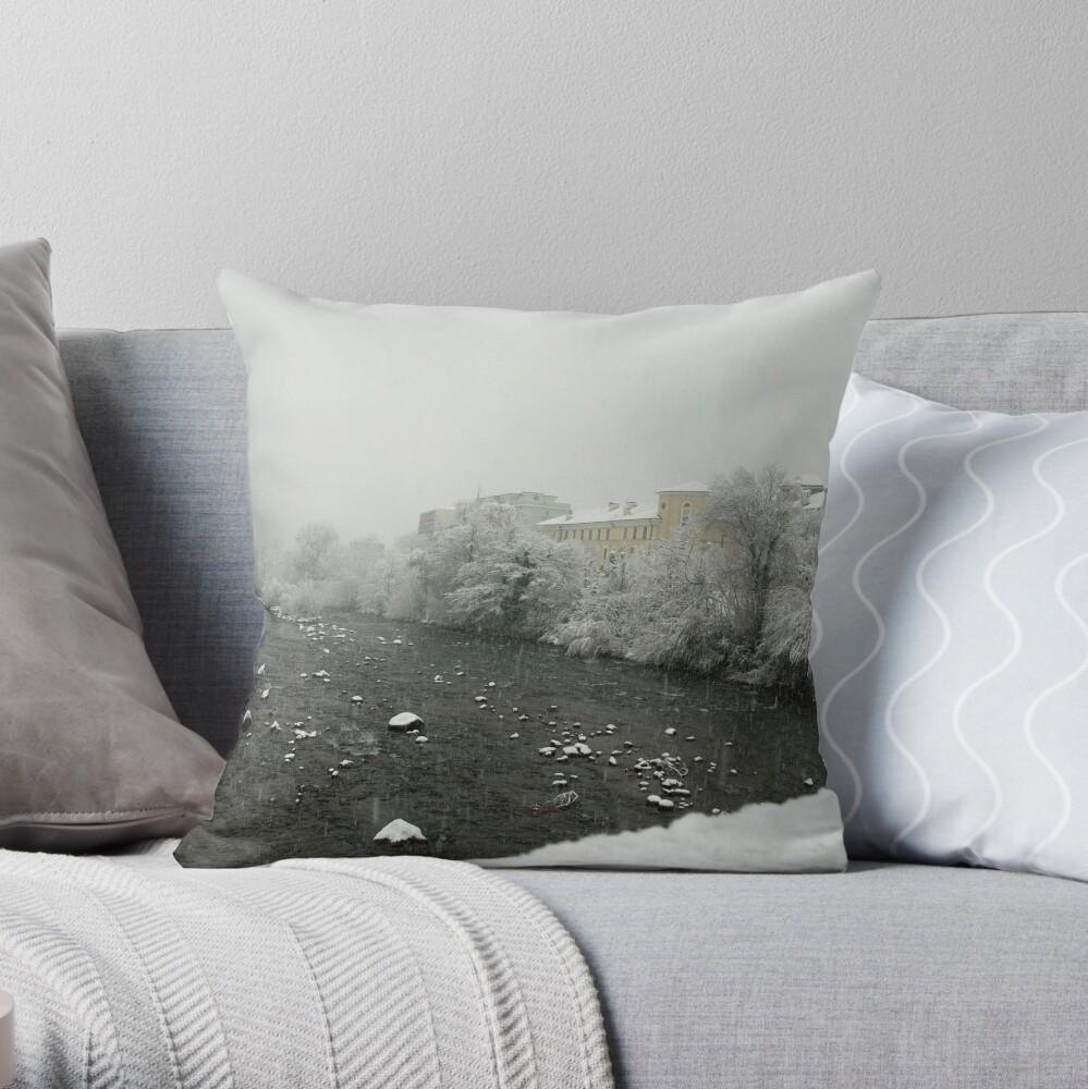 Snow storm on the Talvera River, Bolzano/Bozen, Italy Throw Pillow