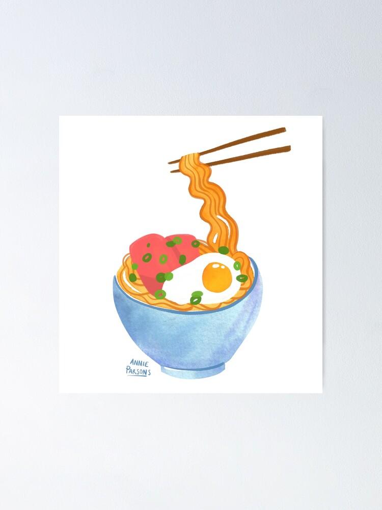 Alternate view of Watercolor Ramen Bowl Poster