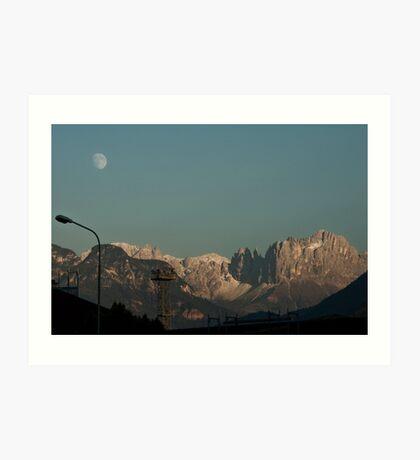 Moon over the Dolomites, Bolzano/Bozen, Italy Art Print