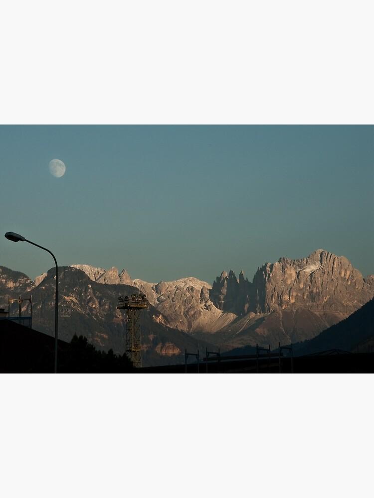 Moon over the Dolomites, Bolzano/Bozen, Italy by leemcintyre