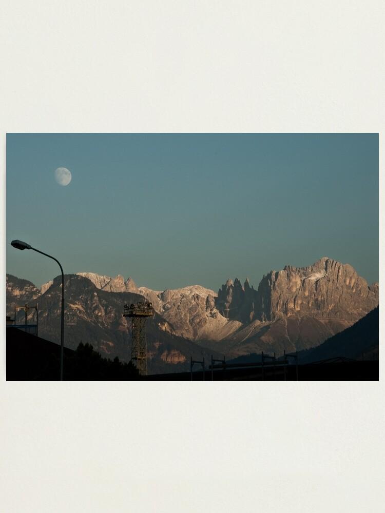 Alternate view of Moon over the Dolomites, Bolzano/Bozen, Italy Photographic Print