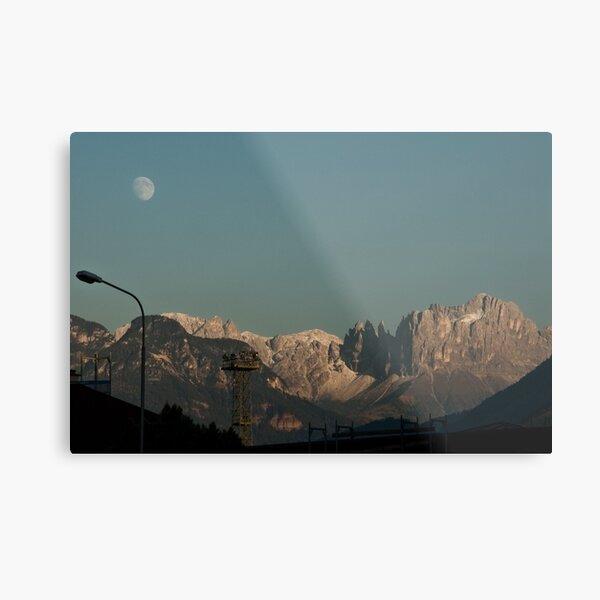 Moon over the Dolomites, Bolzano/Bozen, Italy Metal Print