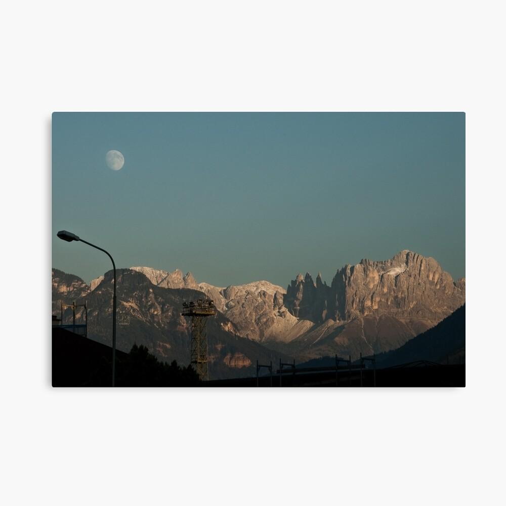Moon over the Dolomites, Bolzano/Bozen, Italy Canvas Print